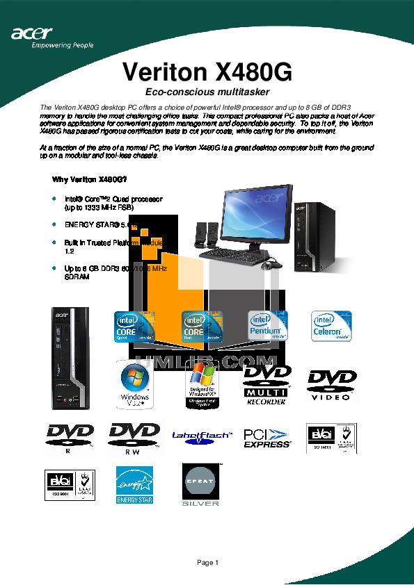 pdf for Acer Desktop Veriton X480G manual