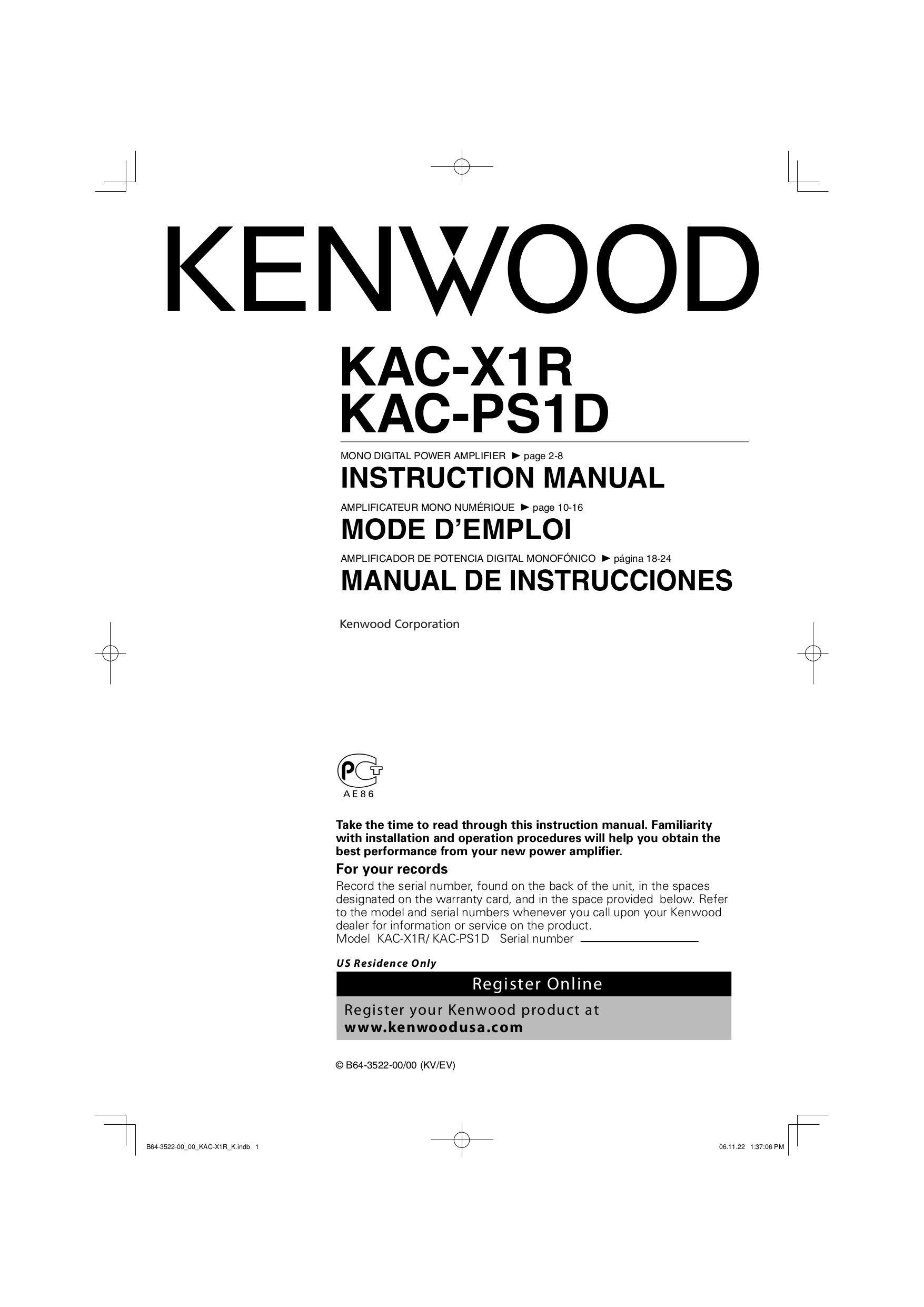 Download Free Pdf For Kenwood Kac X1r Car Amplifier Manual Wiring Diagram