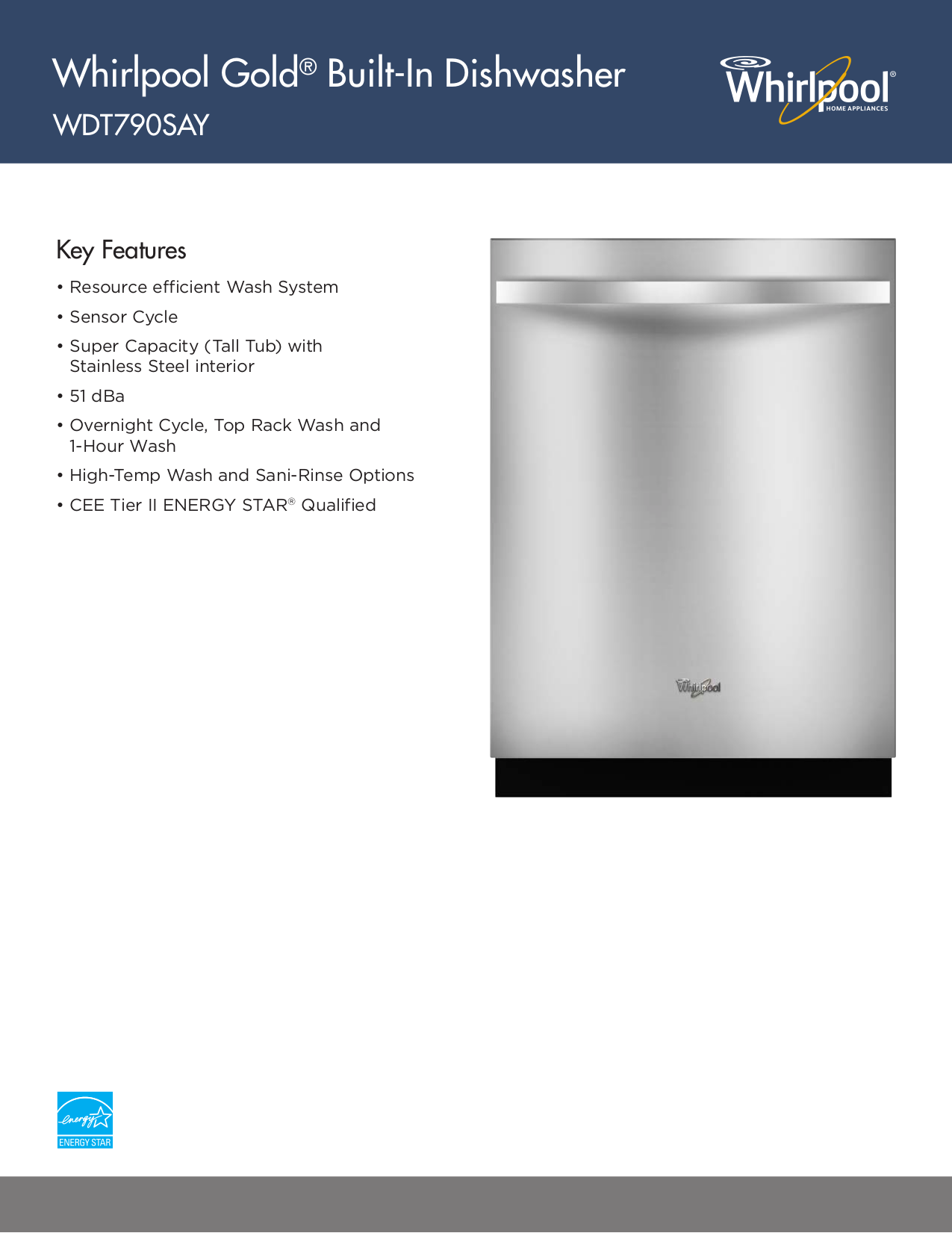 pdf for Whirlpool Dishwasher WDT790SAY manual