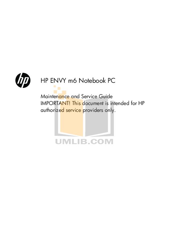 pdf for HP Laptop Envy 17 manual