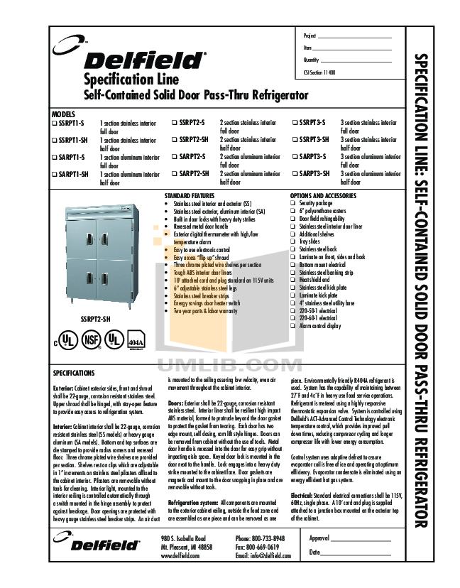 Delfield Refrigerator SARPT3-S pdf page preview