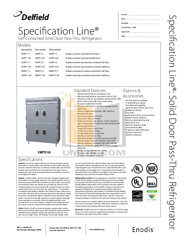 Delfield Refrigerator SARPT3-S pdf page preview