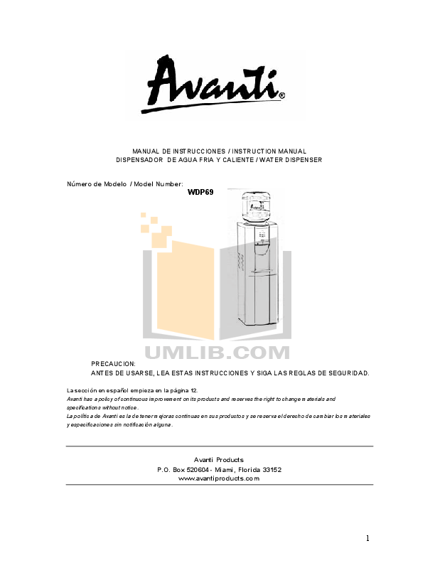 avanti other wdp69 water dispenser pdf page preview