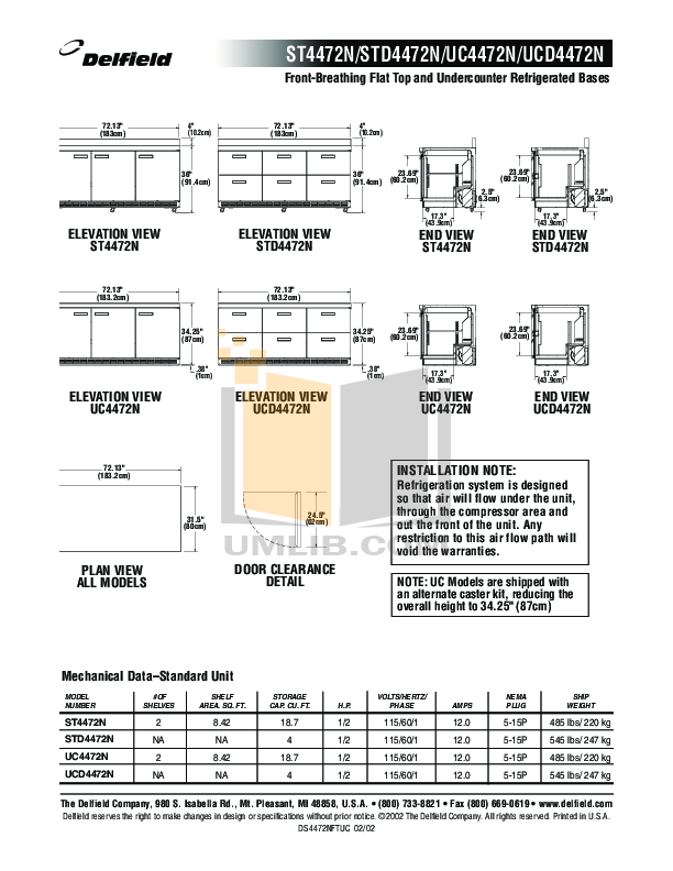 Delfield Refrigerator ST4472N pdf page preview