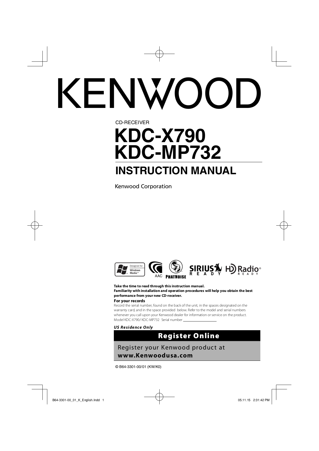 pdf for Kenwood Car Receiver KDC-128 manual