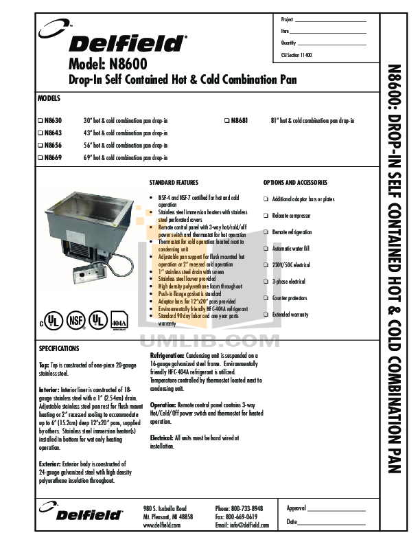 pdf for Delfield Other N8656 Hot and Cold Pans manual