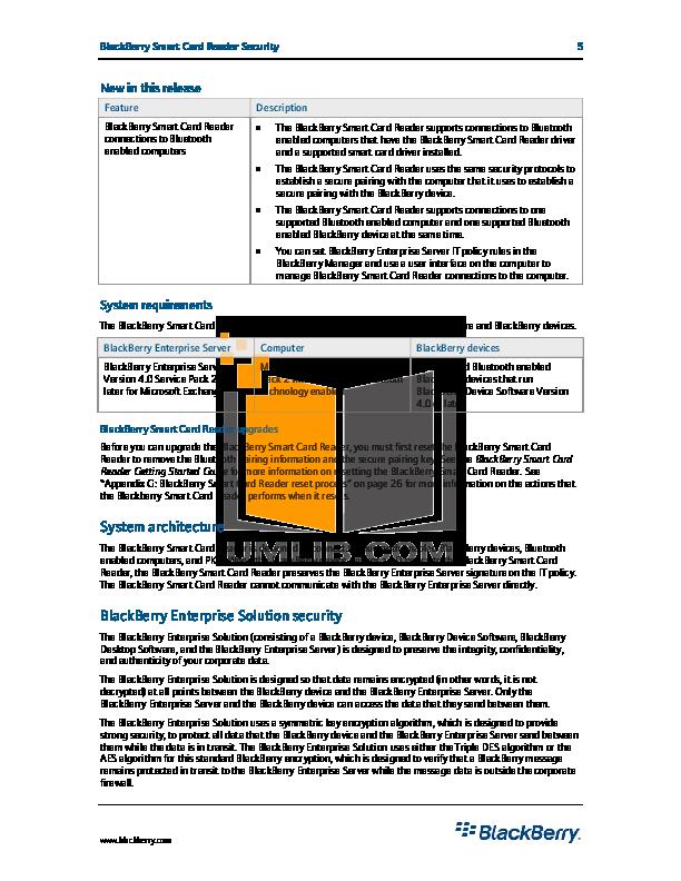 PDF manual for Blackberry Other Smart Card Reader