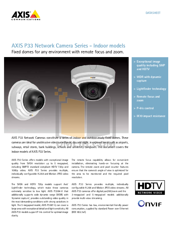 pdf for Axis Security Camera P3346 manual