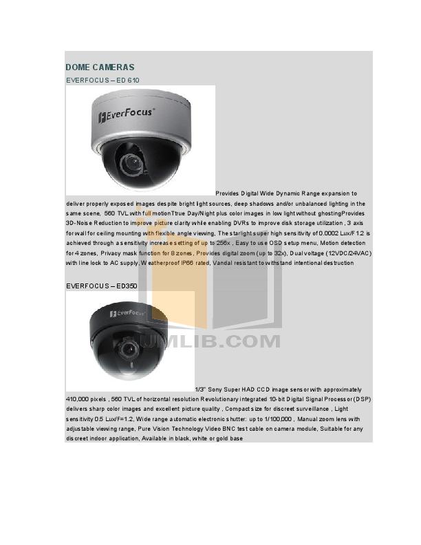 pdf for EverFocus Security Camera EM-500NHP3 manual