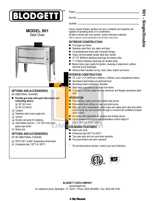 pdf for Blodgett Oven 901 Single manual