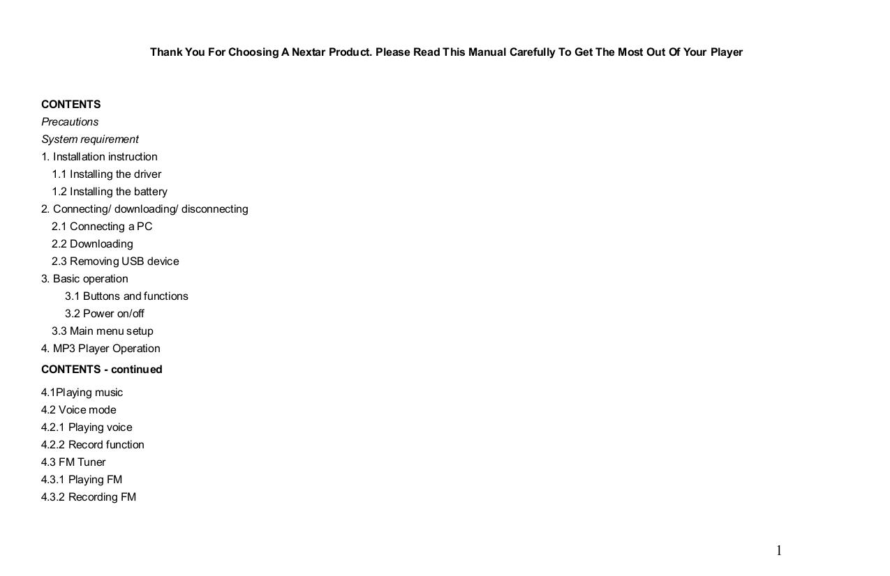 PDF manual for Nextar MP3 Player MA566 1GB