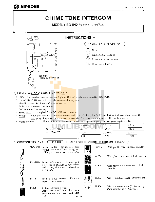 pdf for Aiphone Other IBG-1HD Intercoms manual
