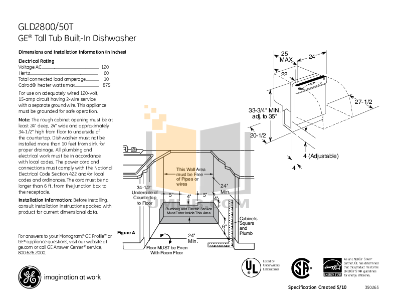 pdf for GE Dishwasher GLD2850TCS manual
