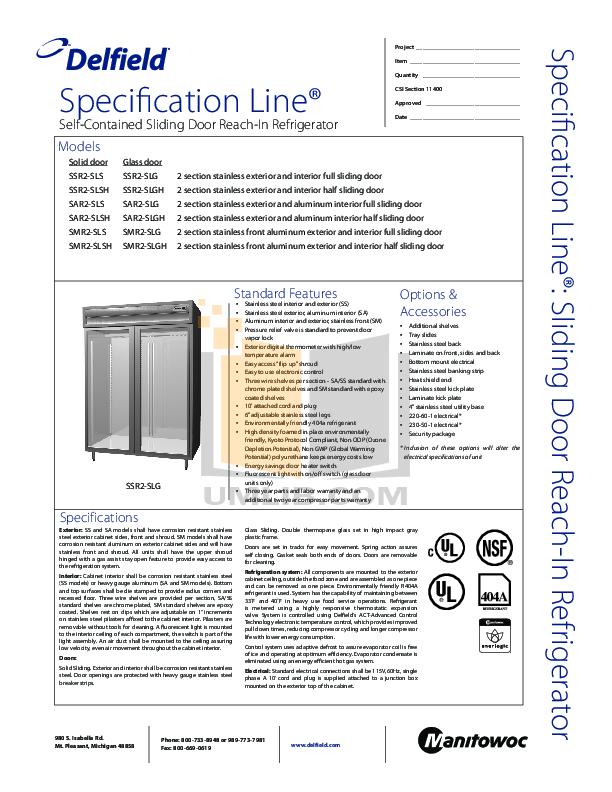 pdf for Delfield Refrigerator SSR2-SLSH manual