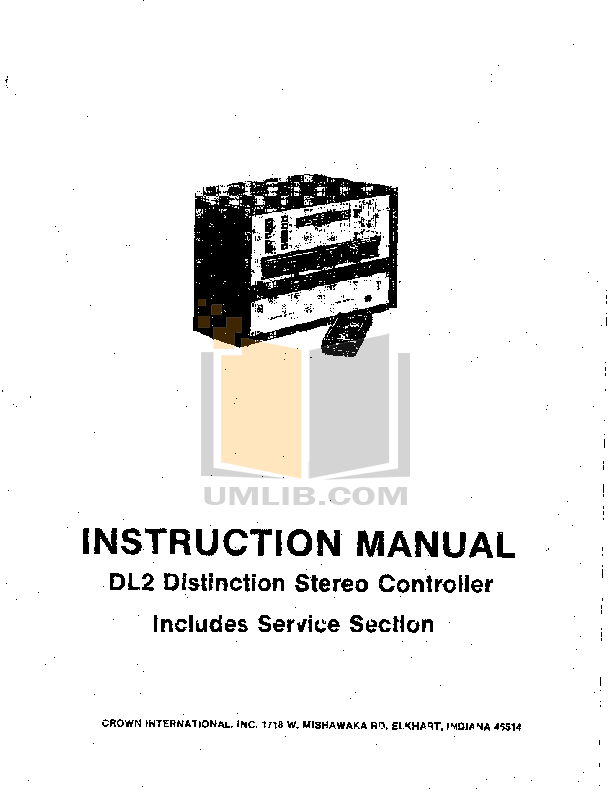 pdf for Crown Other DL2 Stereo Controllers manual