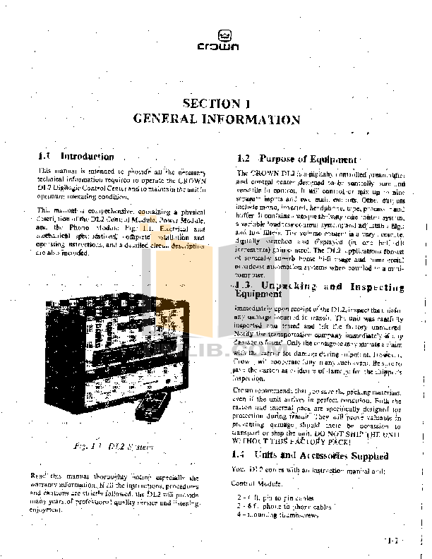 Crown Other DL2 Stereo Controllers pdf page preview