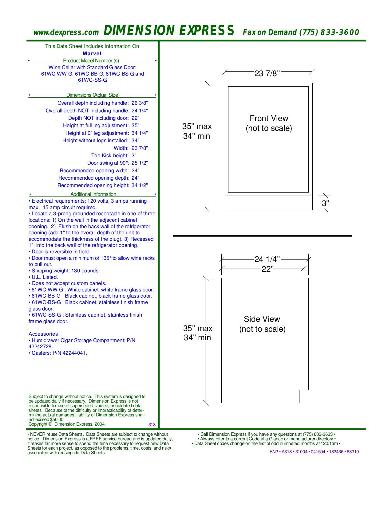 pdf for Marvel Refrigerator 61WC-SS-G manual