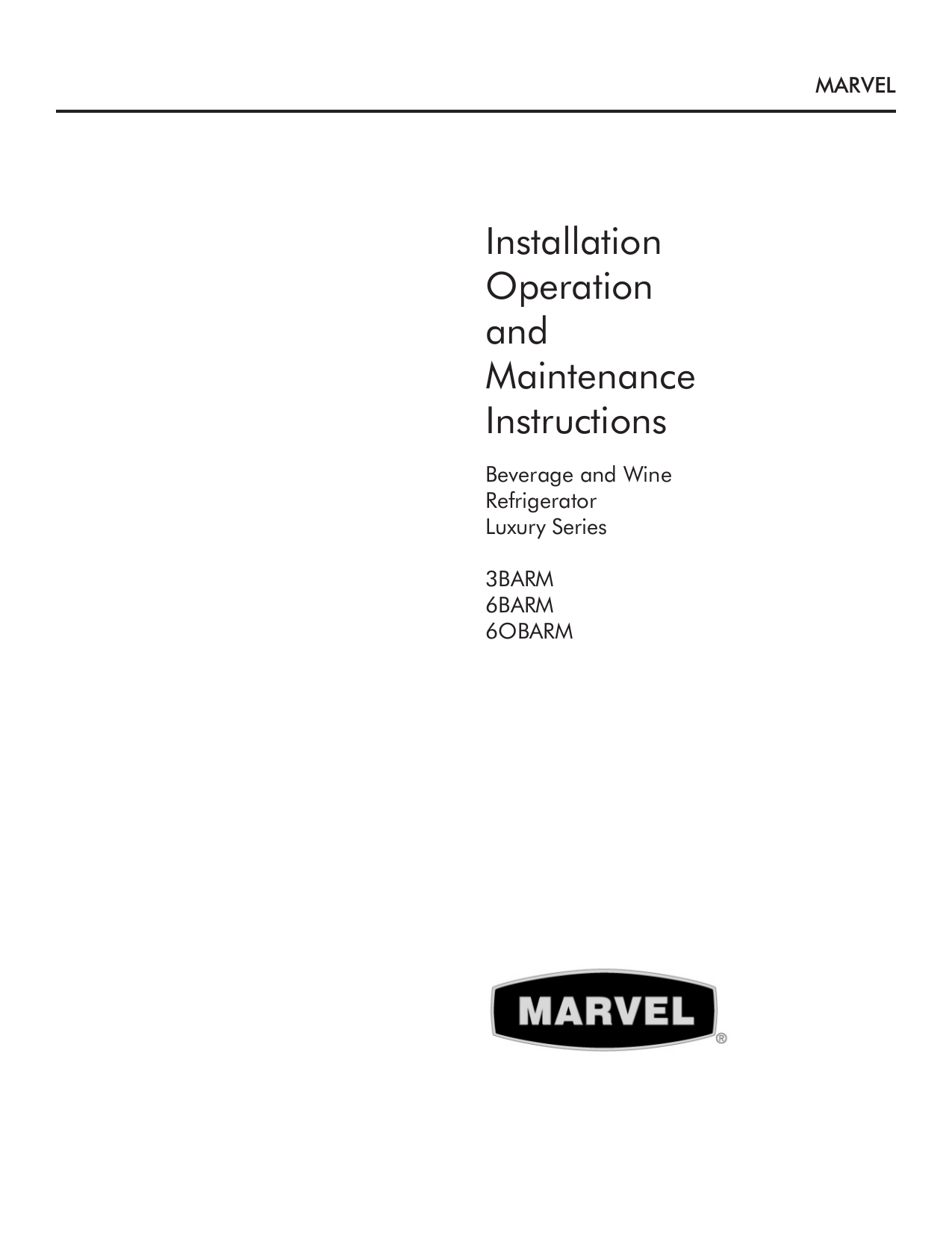 pdf for Marvel Refrigerator 3BARM-BD manual