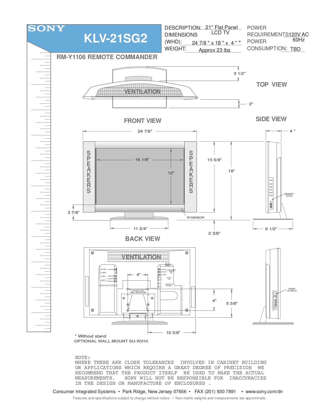 Pdf Manual For Sony Tv Wega Klv
