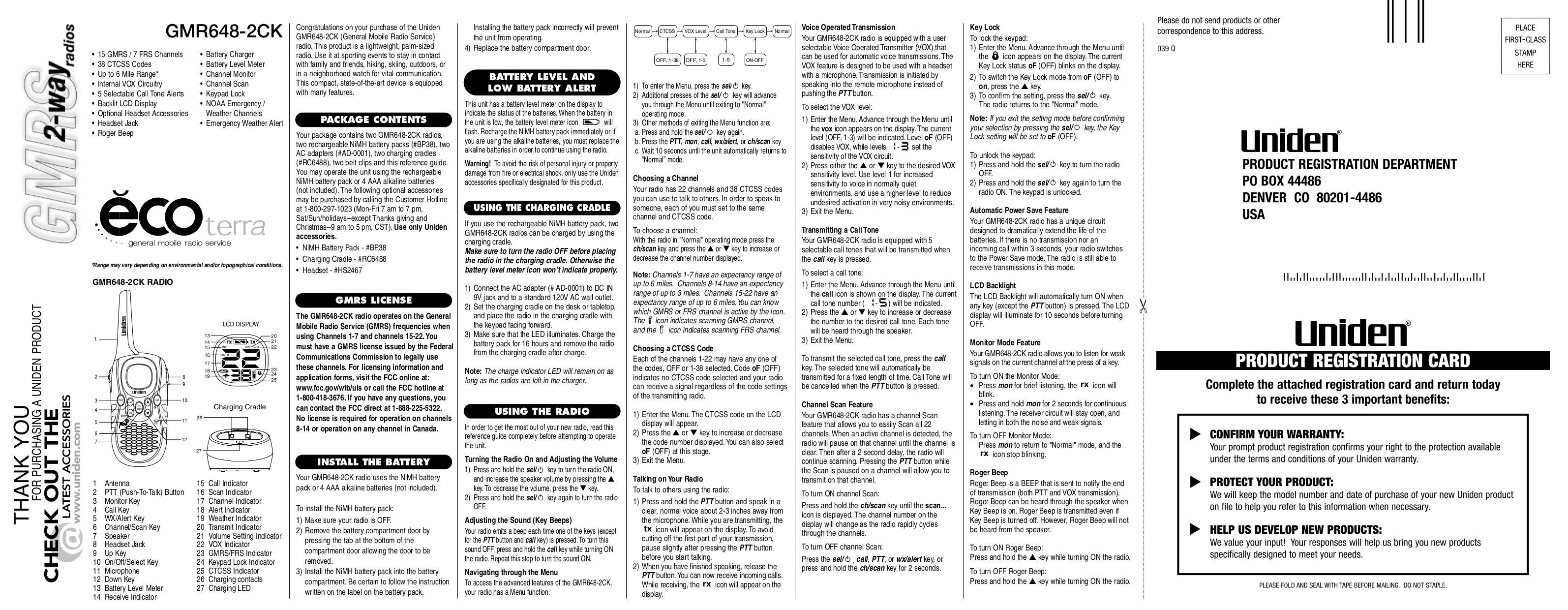 pdf for Uniden 2-way Radio GMR648-2CK manual