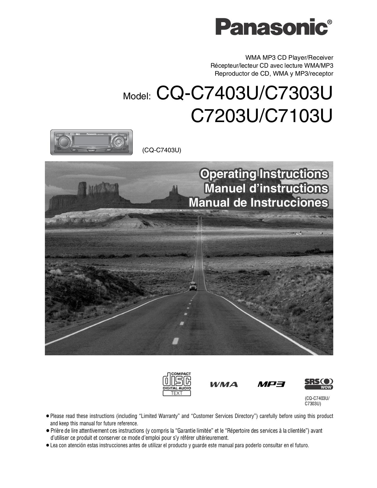 Panasonic Cq C7103u Wiring Diagram Automotive C7105u Download Free Pdf For Car Receiver Manual Rh Umlib Com Cd Installation