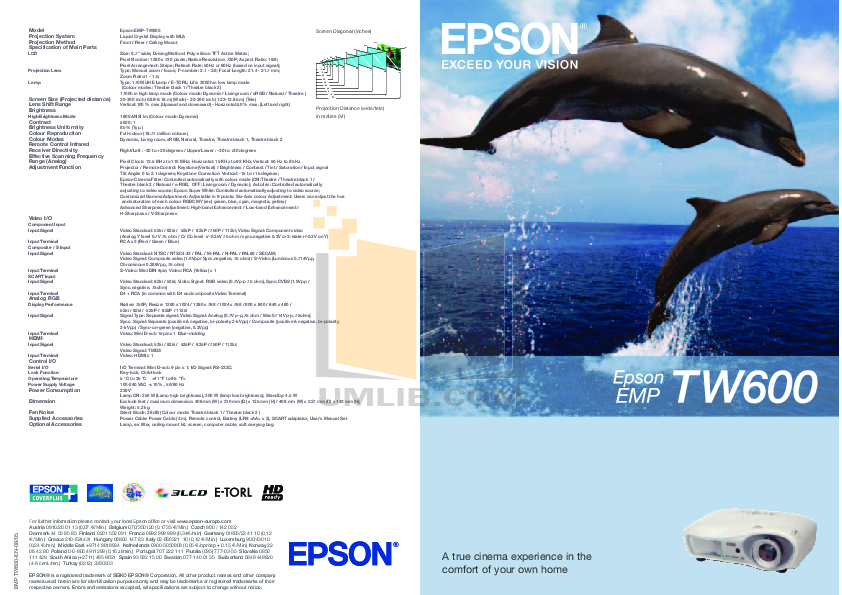 pdf for Epson Projector EMP-TW 600 manual