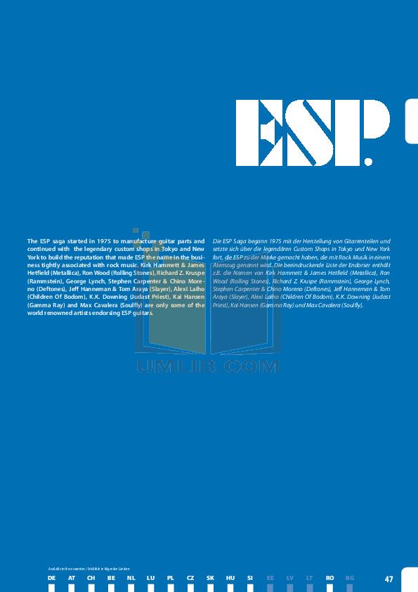 pdf for ESP Guitar Surveyor-415 Ebony manual