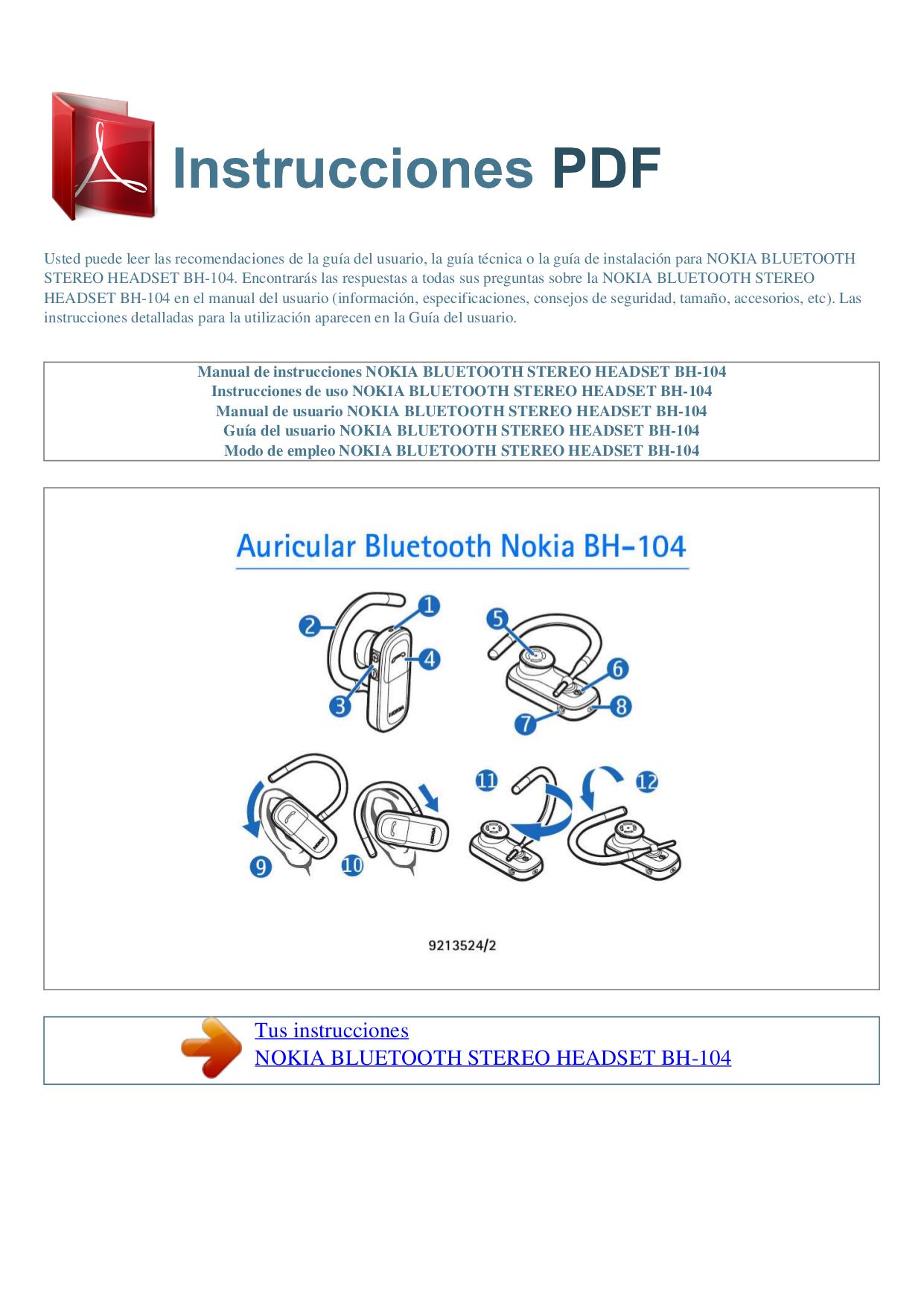 Скачать бесплатно nokia bh 104 инструкция