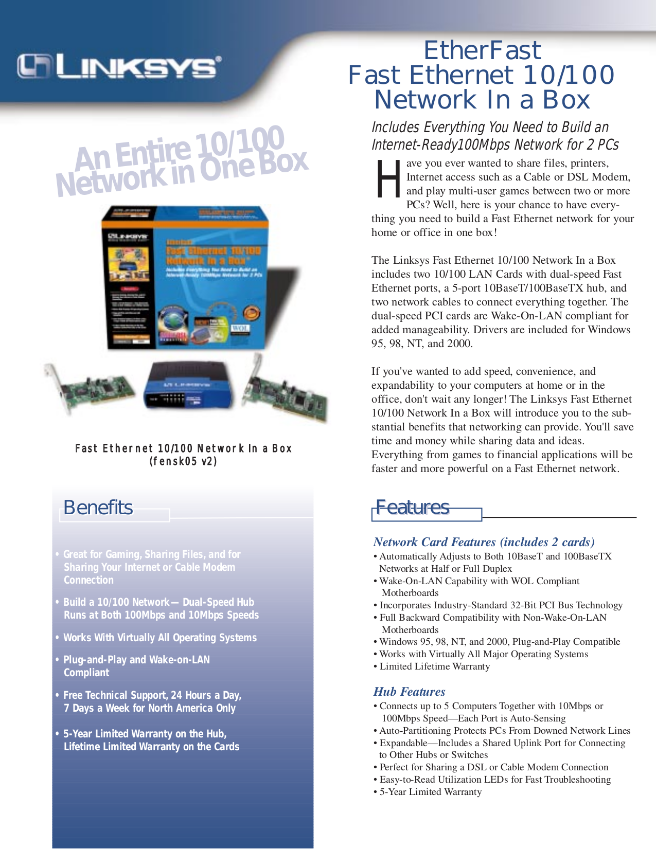 pdf for Linksys Switch FENSK05 manual