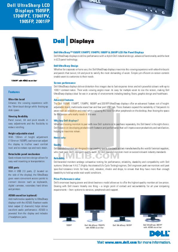 pdf for Dell Monitor UltraSharp 1905FP manual