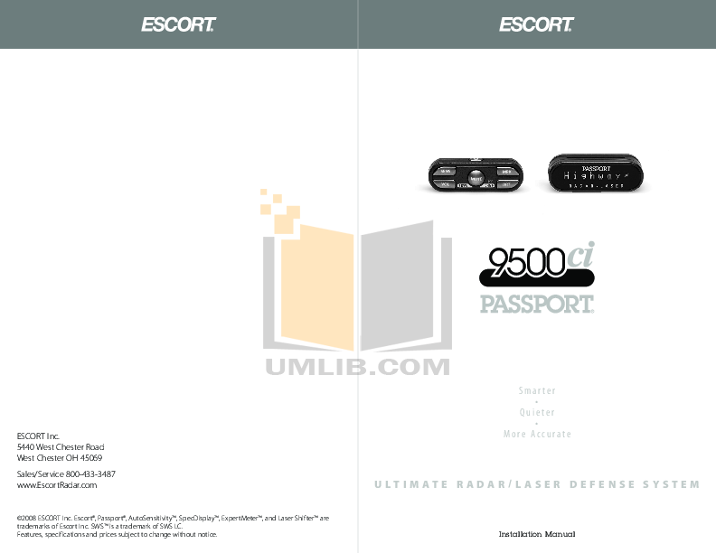 pdf for Escort Radar Detector Passport 9500ci manual