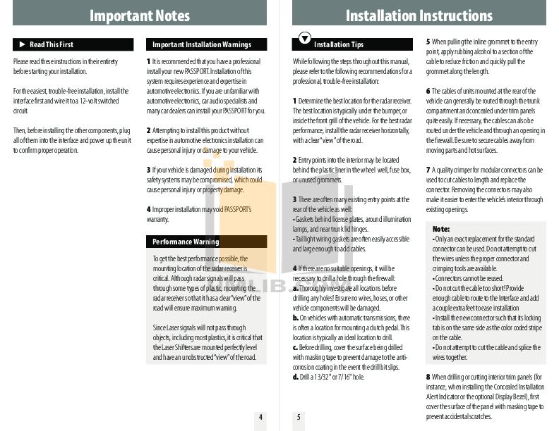 PDF manual for Escort Radar Detector Passport 9500ci