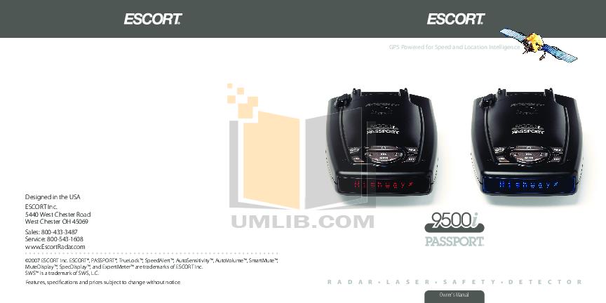 pdf for Escort Radar Detector Passport 9500ci manual