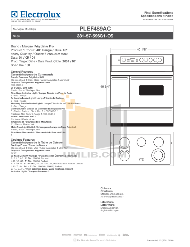 pdf for Frigidaire Range PLEF489A manual