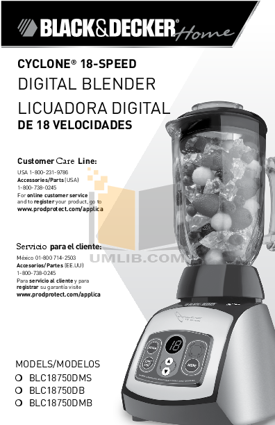 pdf for BlackAndDecker Blender BLC18750DM manual