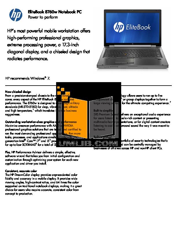 download free pdf for hp elitebook 8740w laptop manual rh umlib com HP Eliteook HP Ellite Book