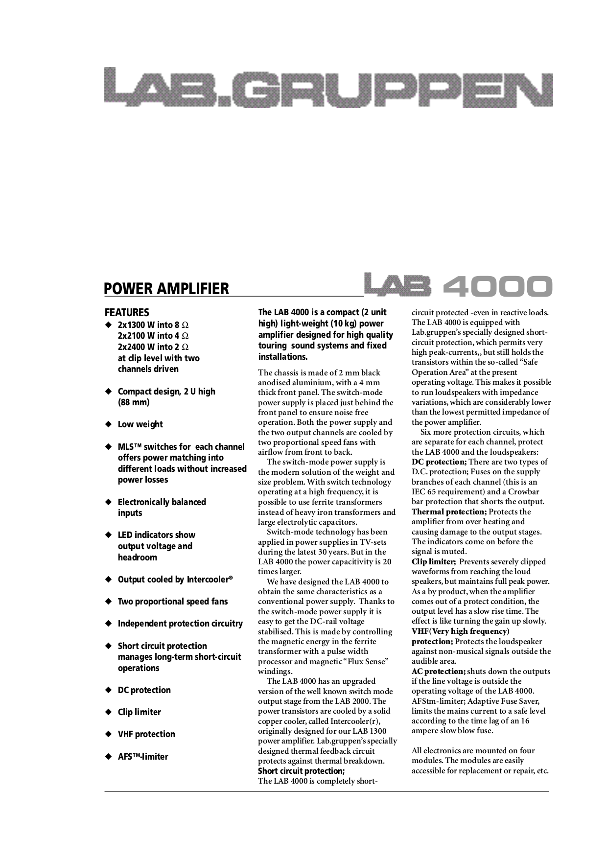 pdf for Lab.gruppen Amp LAB 1600 manual