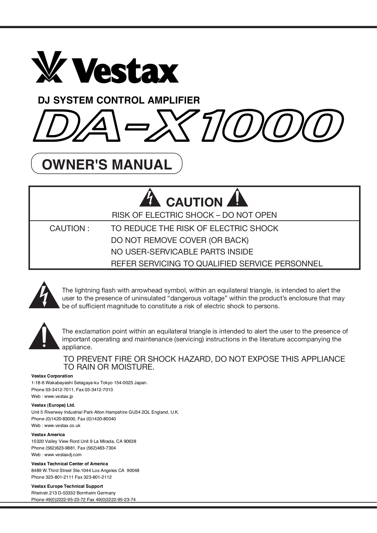 pdf for Vestax Amp DA-X1000 manual