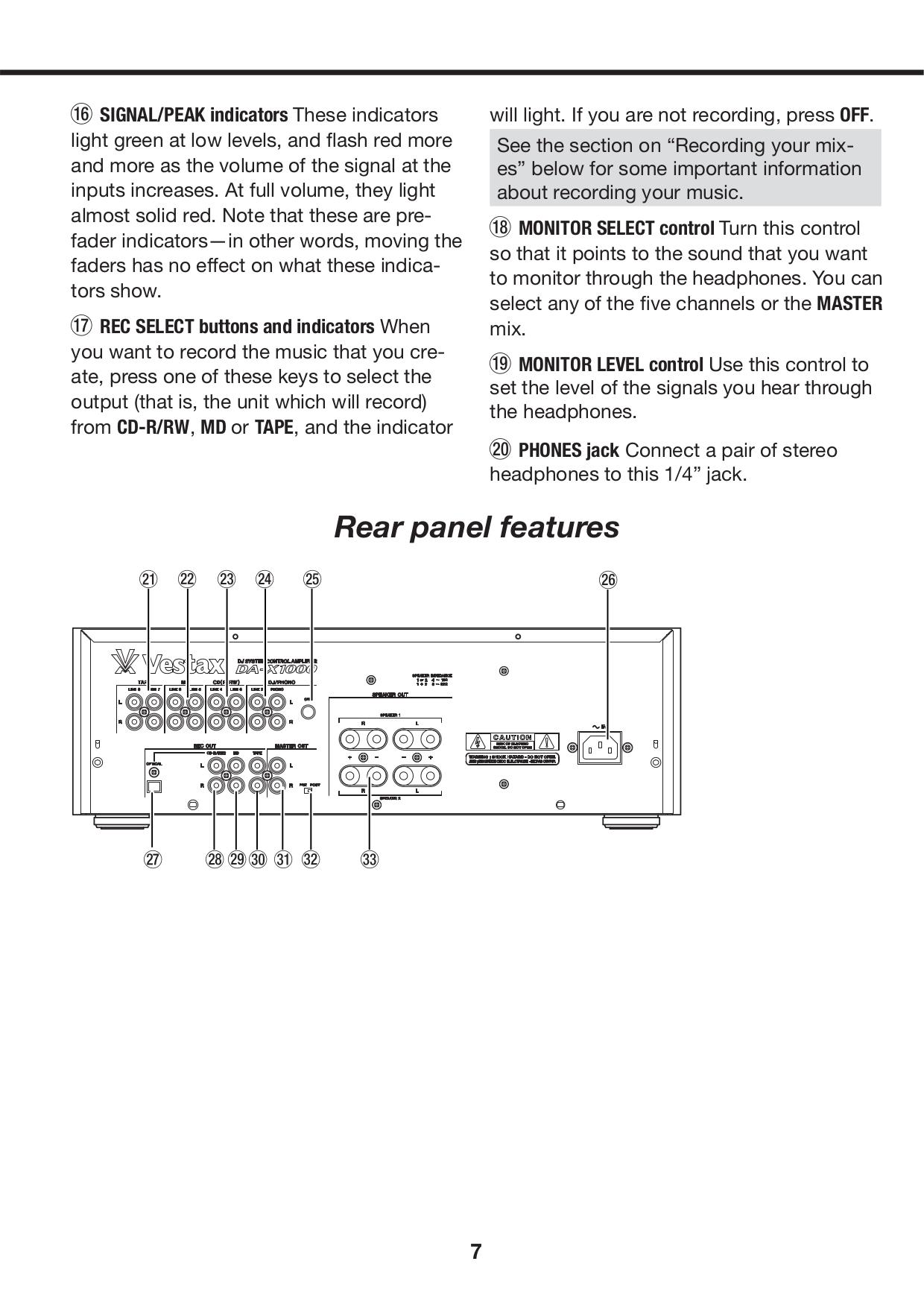 Vestax Amp DA-X1000 pdf page preview
