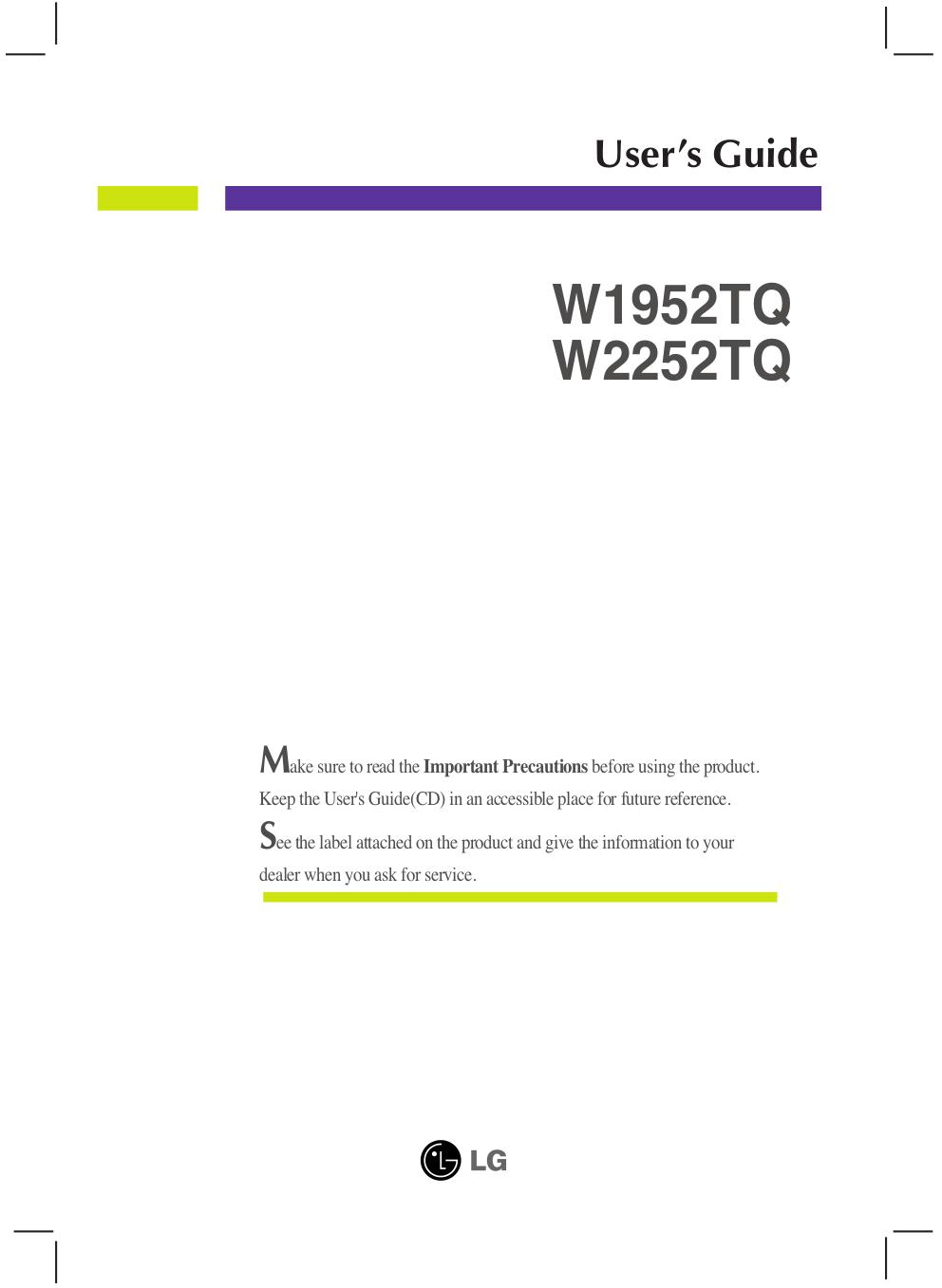 pdf for LG Monitor W2252TQ manual