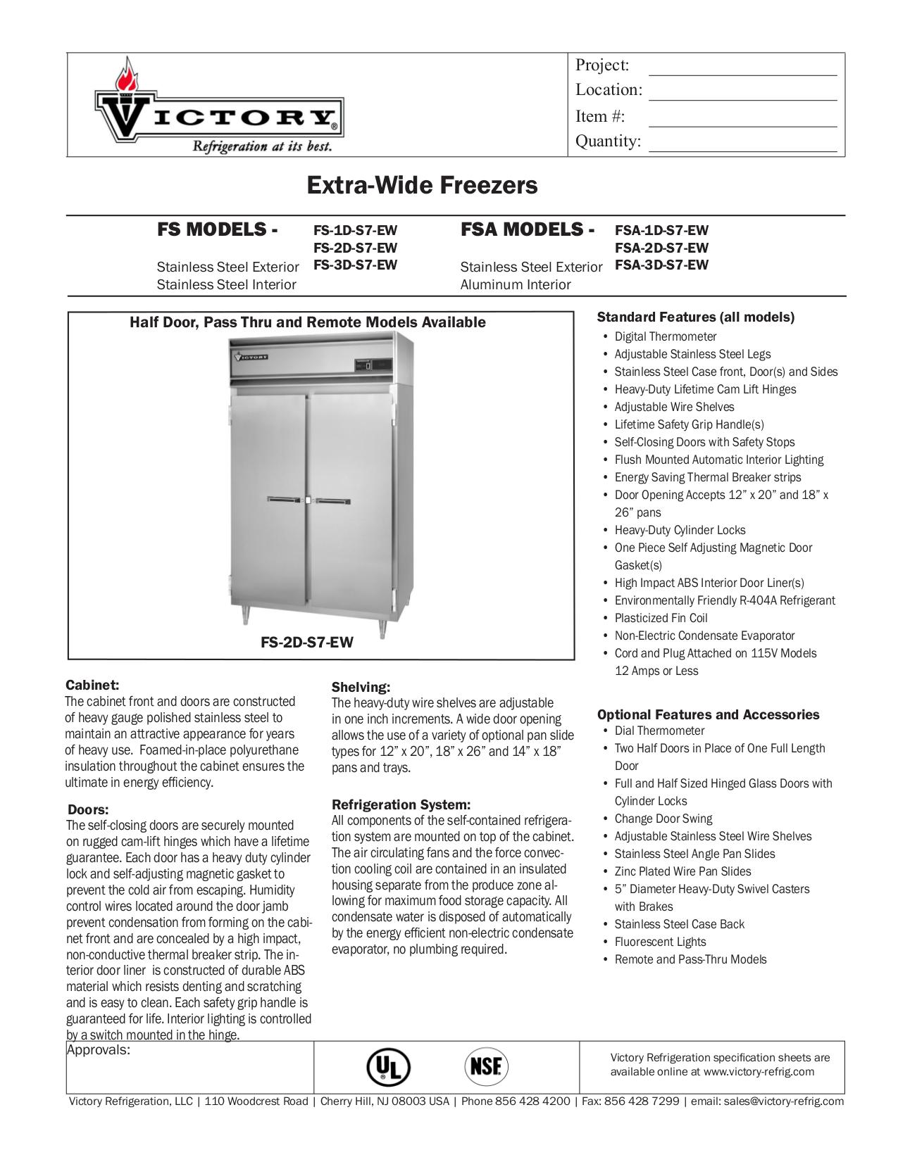 pdf for Victory Freezer FSA-3D-S7-EW manual
