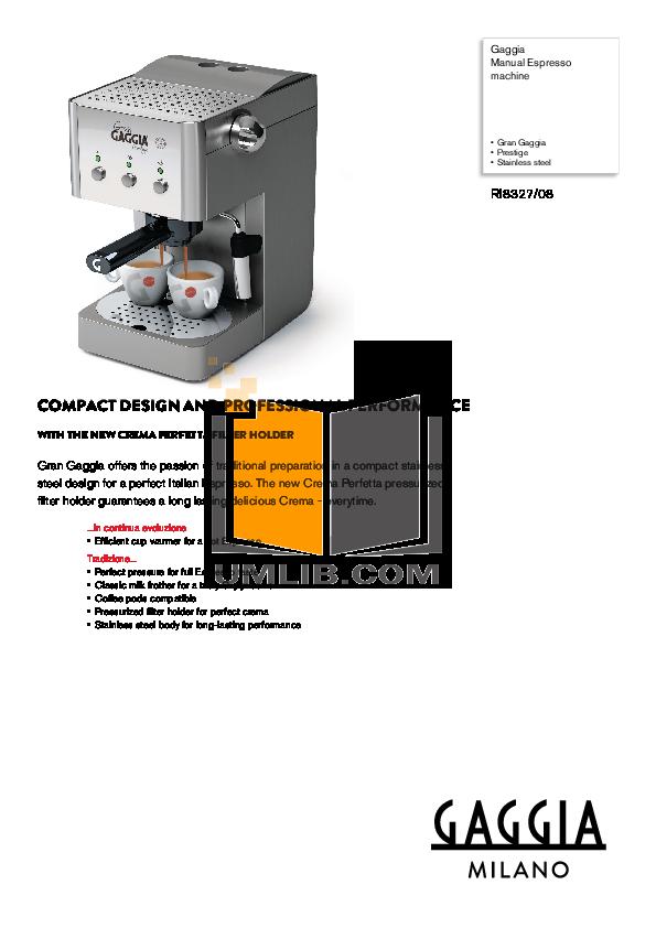 Gaggia Coffee Maker Manual : Download free pdf for Gaggia XD Compact Coffee Maker manual