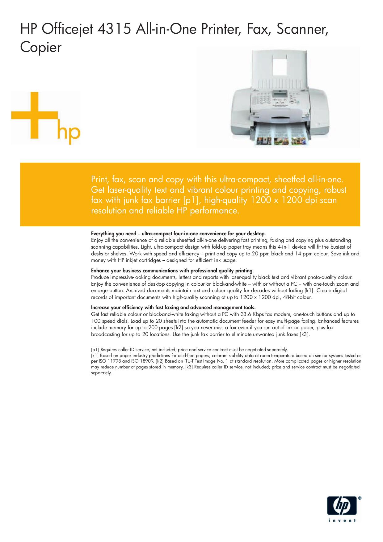 pdf for HP Multifunction Printer Officejet 4315xi manual