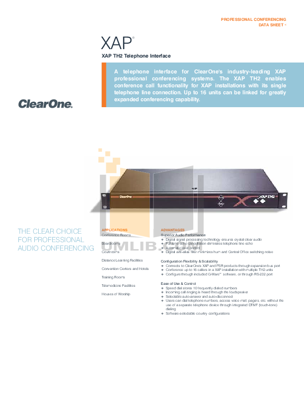 ClearOne Telephone XAP 800 pdf page preview