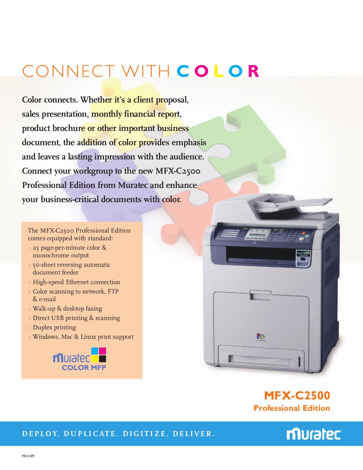 pdf for Muratec Copier MFX-C2500 manual