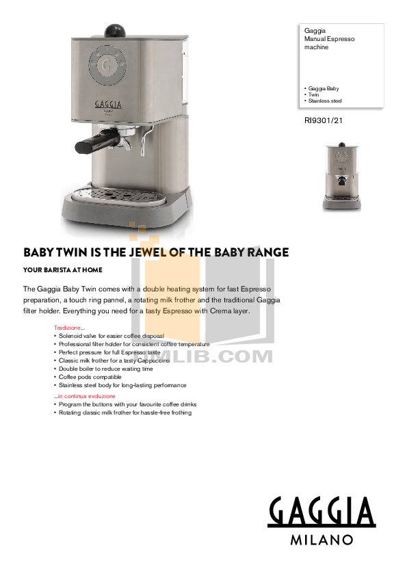 Download free pdf for gaggia new baby coffee maker manual.