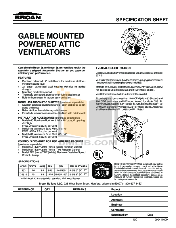 pdf for Broan-NuTone Other 35316 Ventilators manual