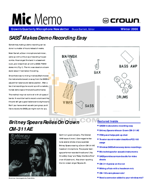 pdf for Crown Other MB-100 Microphones manual