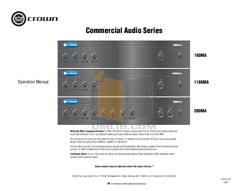 pdf for Crown Other PZM-11LL Microphones manual
