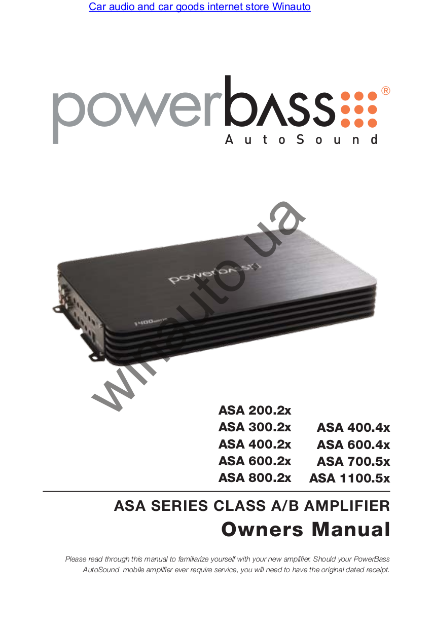 Pdf Manual For Powerbass Car Amplifier Autosound Asa 4004 Audio Service Page Preview
